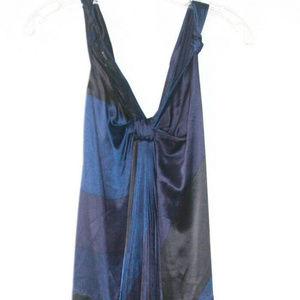 MARC JACOBS MAXI PLEATED SILK COLORBLOCK DRESS